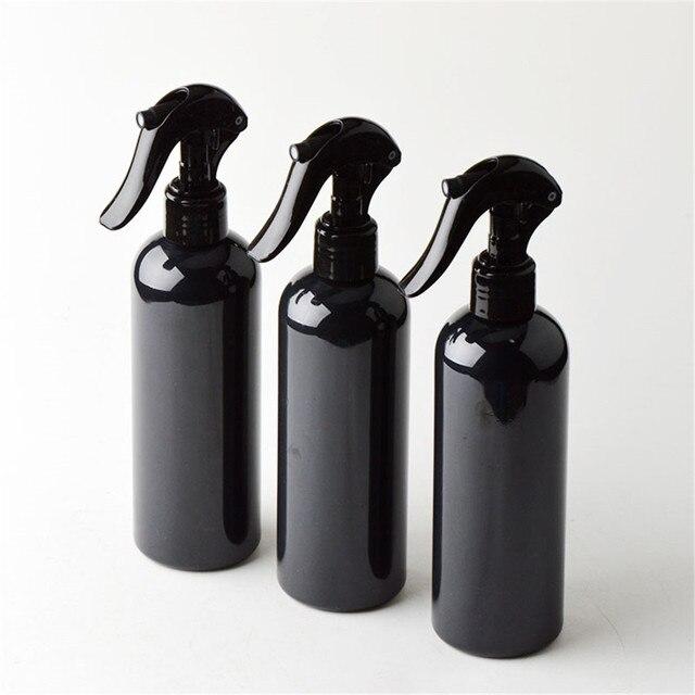 6 ピース/ロット 300 ミリリットル旅行シャワー黒プラスチックボトル人間工学トリガー噴霧器詰め替えボトル支持ロゴ印刷