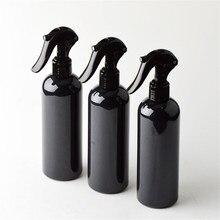 6 ps/partia 300ml Travel Shower czarne plastikowe butelki z aerozolem z ergonomicznym rozpylacz typu trigger wielokrotnego napełniania butelki wsparcie Logo drukowanie