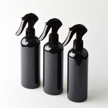 6ps/lot 300ml Travel Shower Black Plastic Spray Bottles With Ergonomic Trigger Sprayer Refillable Bottle Support Logo Printing