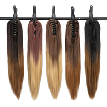 "Neverland 20"" Synthetic Straight Hair Ponytail Extension Ombre Color High Temperature Fiber Hair Pieces Clip in Hair Extensions(China)"