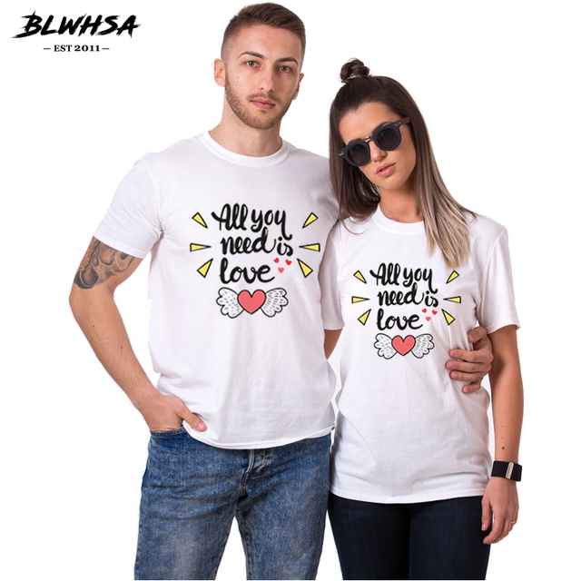 9bac262a63 BLWHSA Valentine Couple T Shirt Love to Each Other Women/man T-shirt Short  Sleeve Cotton O-neck Camiseta Angel Lover T Shirts