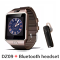 Auricular bluetooth + smart watch dz09 para ios android iphone pk gt08 bluetooth reloj smartwatch teléfono apoyo whatsapp