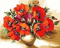 Mahuaf-x628 디지털 유화 세공 선물 붉은 양귀비 꽃 40x50 cm 액자 세공 사진 그림 by 숫자