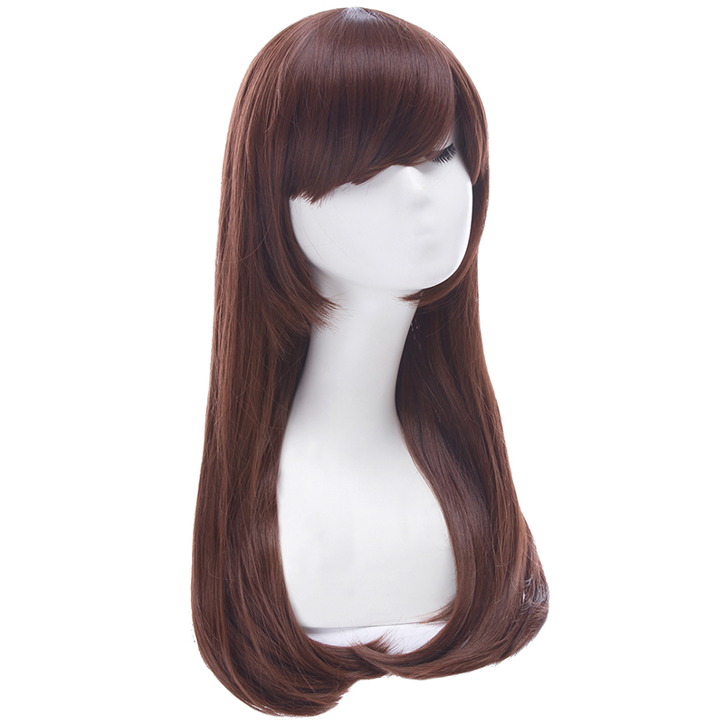 Image 2 - L email wig Game OW D.Va and Mercy Cosplay Wigs Color Brown Beige Heat Resistant Synthetic Hair Perucas Women Cosplay Wigwig colorwig gameswig wig -