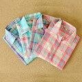 Новый 2016 Женская Мода Блузки С Длинным Рукавом отложным Воротником Плед Рубашки Женщин Случайные Хлопка Рубашка Blusas Feminias