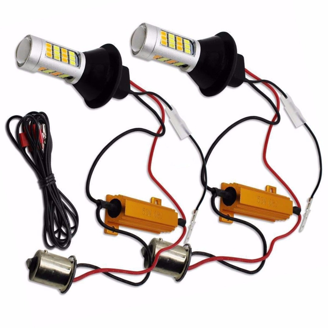 For Car Lighting 2pcs 1156 High Power Dual Color Switchback LED Bulb P21W S25 BA15S 2835 42LED Daytime Running Turn Signal Lamp