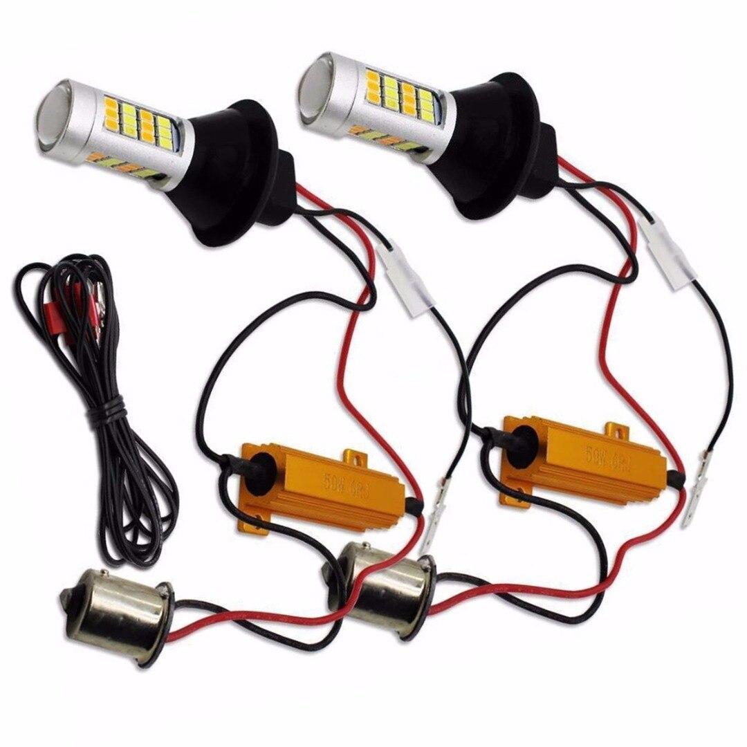 Para a Iluminação Do Carro 2pcs 1156 de Alta Potência Dual Color Switchback Lâmpada LED P21W S25 BA15S 2835 42LED Daytime Running por sua vez Lâmpada de Sinal