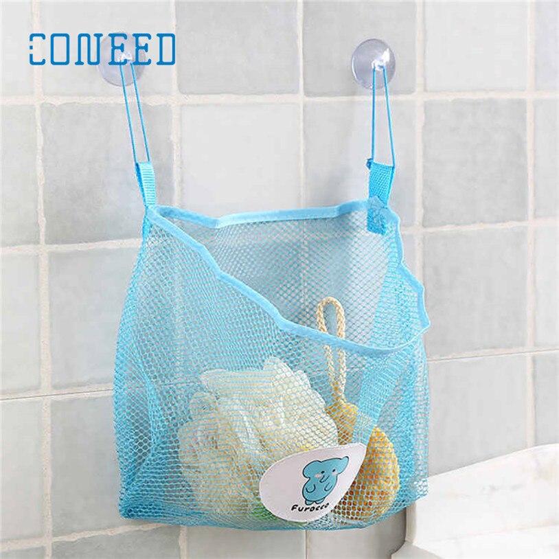 Hanging Baby Kids Bath Time Tidy Storage Toy Suction Cup Bag Mesh Bathroom Organizer Net u70717 LE2