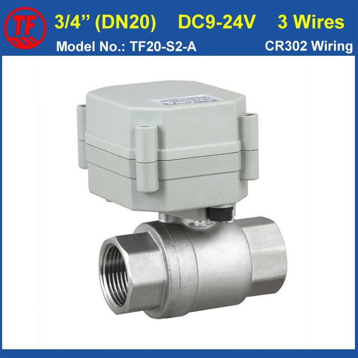TF20-S2-A Full Port 3/4'' Electric Water Valve Stainless Stell DN20 BSP/NPT Thread On/Off 5 Sec Metal Gear Warranty 1 Year tf20 s2 c high quality electric shut off valve dc12v 2 wire 3 4 full bore stainless steel 304 electric water valve metal gear