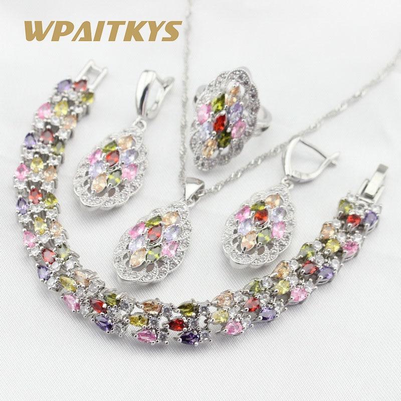 Multicolor Stones CZ Silber Farbe Schmuck Sets Für Frauen Charme Halskette Anhänger Armbänder Ohrringe Ohrringe Freies Geschenk