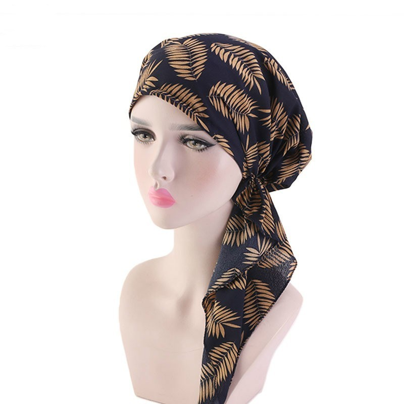 Fashion Moslem Women Hijabs Solid Cotton Pleated Long Tail Hat Floral Print Turban For Lady Charming Turbano Chemotherapy Cap