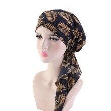 패션 이슬람 여성 Hijabs 솔리드 코 튼 Pleated 긴 꼬리 모자 꽃 인쇄 터 번 레이디 매력적인 Turbano 화학 요법 모자
