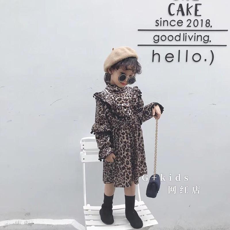 Kids winter 2018 new female children's clothing leopard wood ear Korean dress princess dress fashion models dress lussotico 9817b female