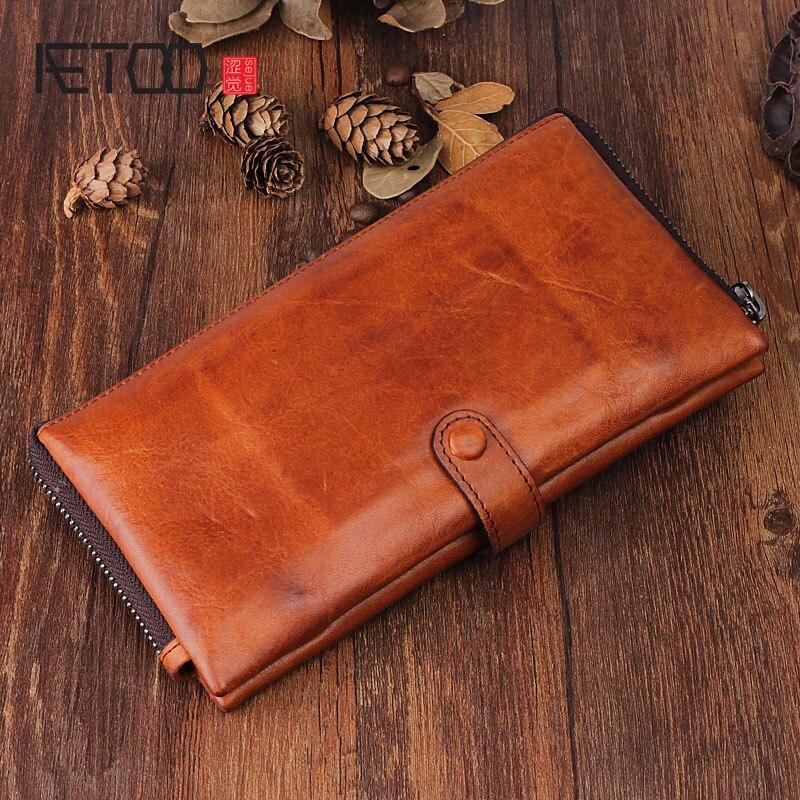 AETOO Art handmade leather long wallet men and women leather handbag zipper multi-card bit youth buckle