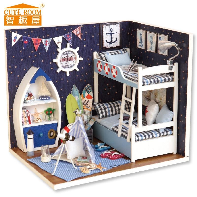 Chambre mignonne Maison de poupée pour Puppenhaus Brithday Gift Miniature House jouets pour enfants Wooden House toys - Face The sky