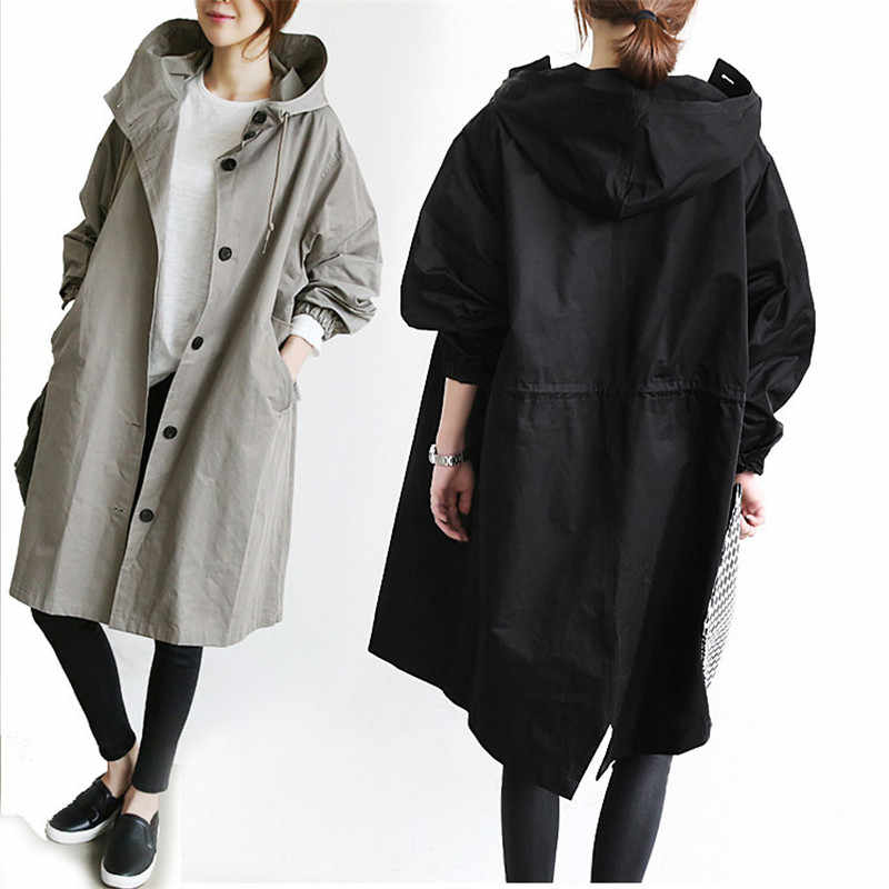 2019 Spring Autumn Hooded Trench Coat Large Size Casual Thin Long Trench Lacing Waist Hooded Windbreaker Female Outerwear M143