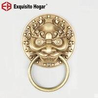 Antique Copper Lion Head Door Handle Door Knocker Furniture Decorative Buckle Ring Retro Tiger Handle