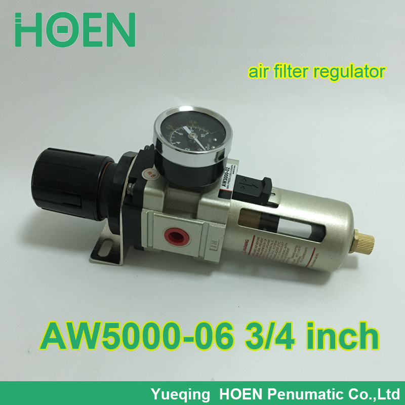 AW5000-06 PT3/4 SMC type pneumatic air filter regulator with Manual drain 3/4 inch air treatment unit pneumatic air filter regulator aw3000 03d 3 8 smc type air treatment unit automatic drain type