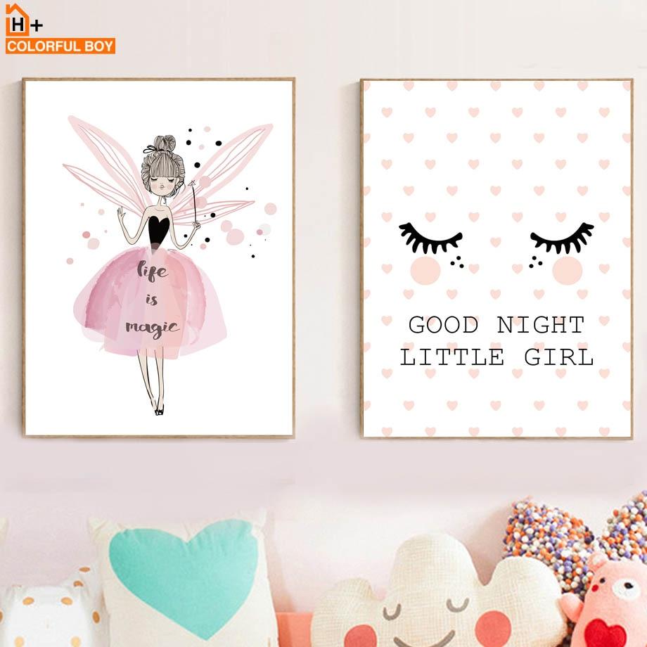 Pink Girl Princess Eyelash Cartoon Nursery Wall Art Canvas Painting Nordic Posters And Prints Wall Pictures Girl Kids Room Decor