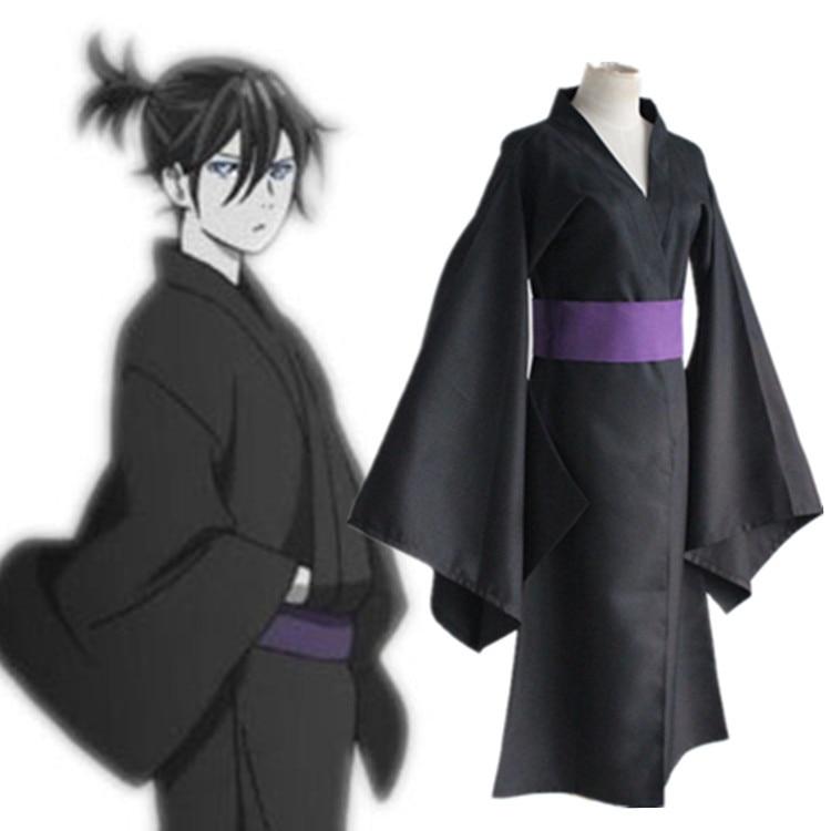 Noragami Yato Black Kimono Yukata Cosplay Costume