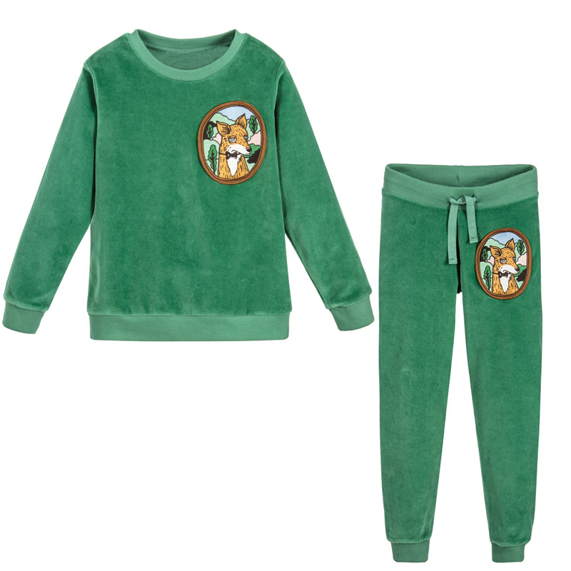 Jumping Meters Children Clothing Set 2017 Brand Baby Girls Winter Clothes Boys Christmas Outfits Velour Fleece Fox Kids Tacksuit jumping meters boys winter clothes children clothing sets animal tops pants 100% cotton 3017 brand kids tracksuit boys outfits