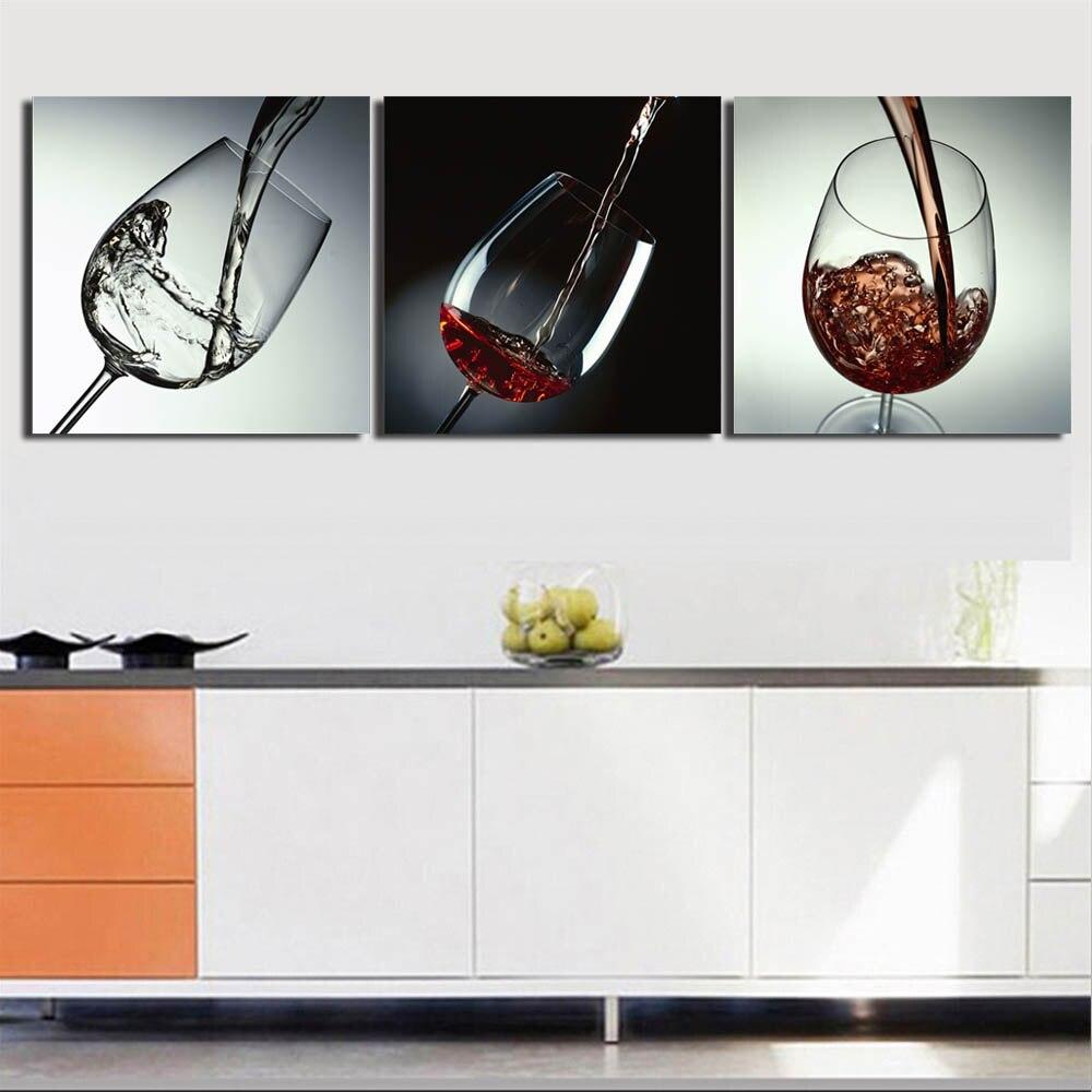 3 Panel Rotwein Glas Wand Kunst Leinwand Malerei Gestreckt und Eingerahmt Becher Poster Bild für Küche Esszimmer Wand decor - 2