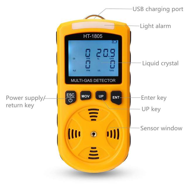 4 In 1 Harmful Gas Detector O2 CO H2S LEL Monitor LCD
