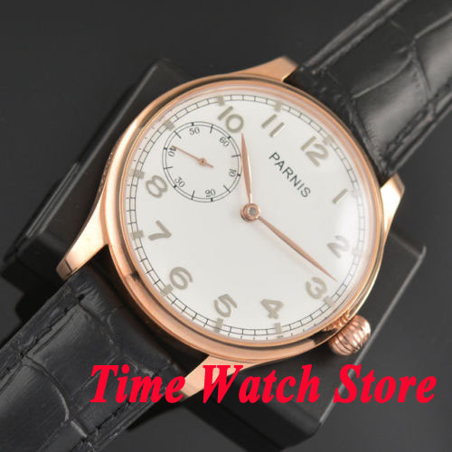 Parnis 44mm white dial pumpkin black strap golden case 6497 hand winding movement Men's watch 442
