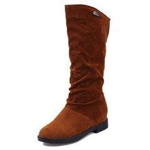 Hiver et Automne bottes femmes bottes en daim femelle à l'intérieur croissante plat gommage Mi-mollet bottes femme chaussures