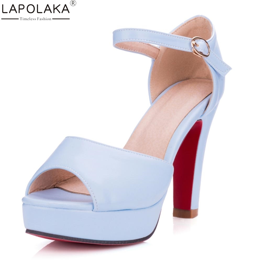 Lapolaka2018 Big Size 33-43 Buckle Strap Chunky Heels Platform Summer Sandals Woman Pumps Peep Toe Woman Shoes Sandal