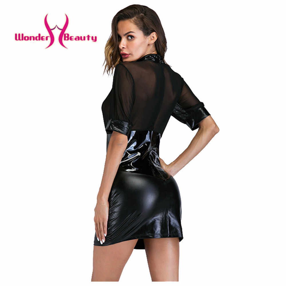 6a8bb032249 ... Sexy Wetlook Faux Leather Dresses Open Bust See Through Mesh Robe Sexy  Bandage Club Erotique Pole ...