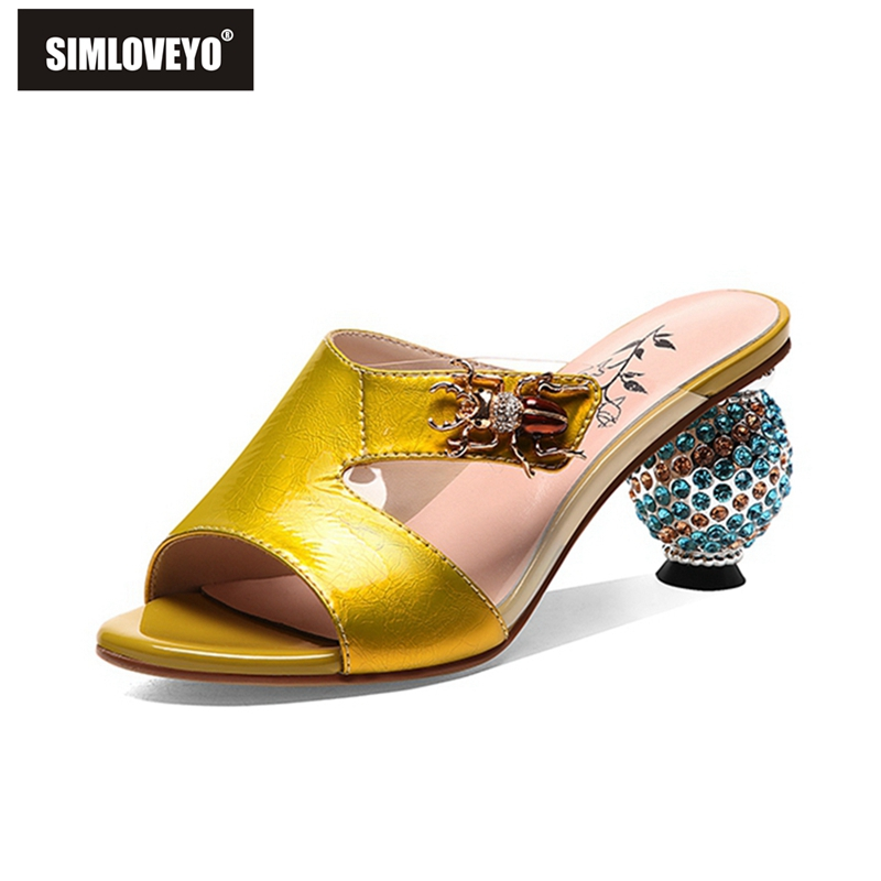 SIMLOVEYO Bling Ball Strange Heel Summer Shoes Woman Slip on Wedding Sandals Crystal Gladiator Ladies Genuine