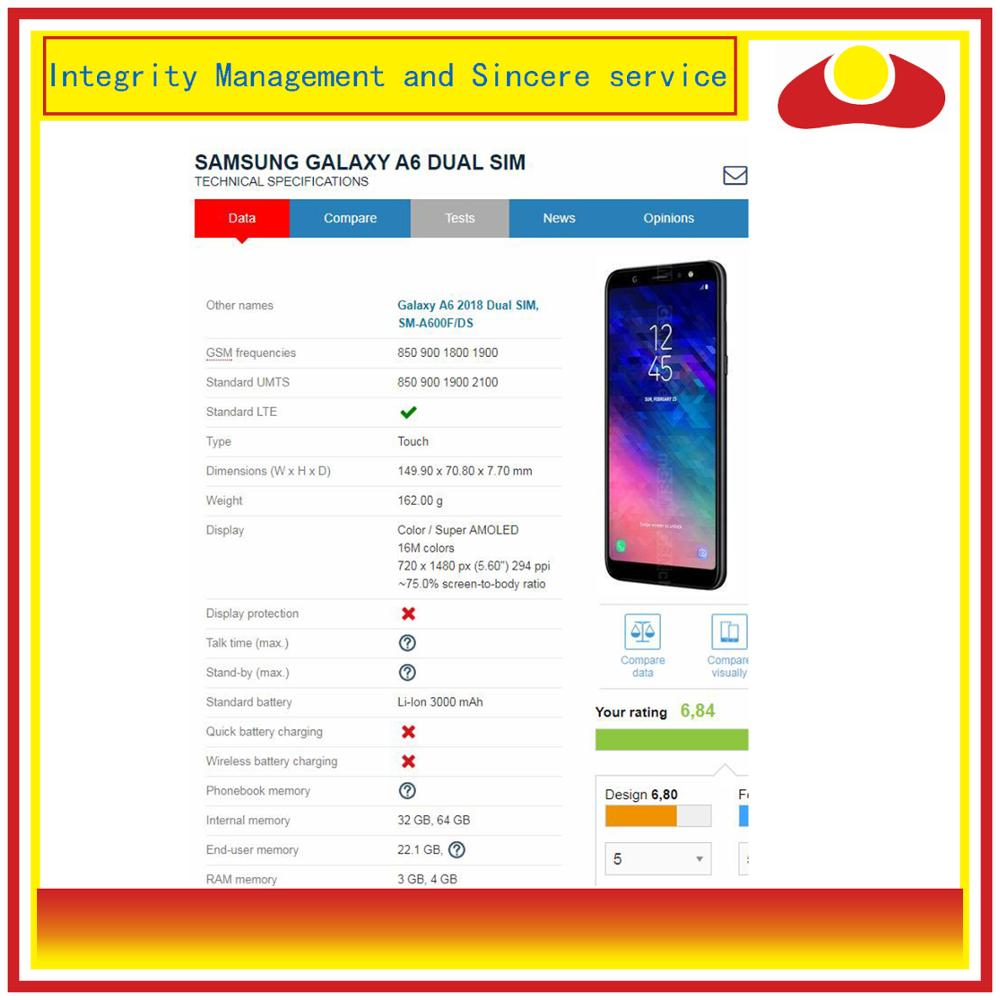 Image 4 - ORIGINAL For Samsung Galaxy A6 2018 A600 A600F A600FN LCD Display With Touch Screen Digitizer Panel Monitor Assembly Complete-in Mobile Phone LCD Screens from Cellphones & Telecommunications