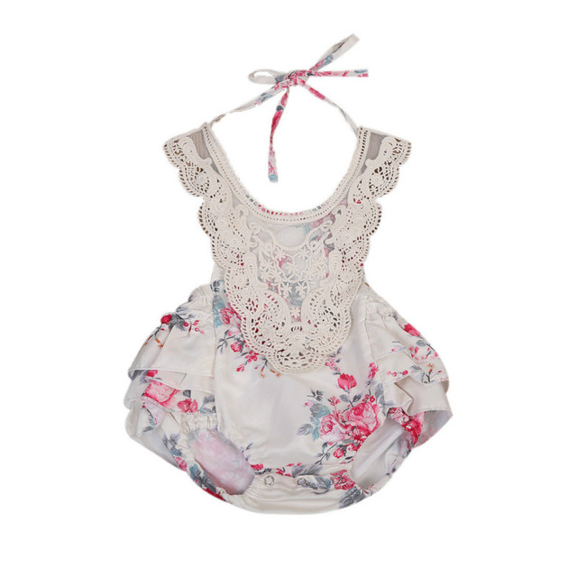 84984ea903f Fashion Newborn Infant Baby Girls Sling Ruffle Lace Halter Bodysuit Floral  Jumpsuit Sunsuit Sleeveless Frills Backless Clothes