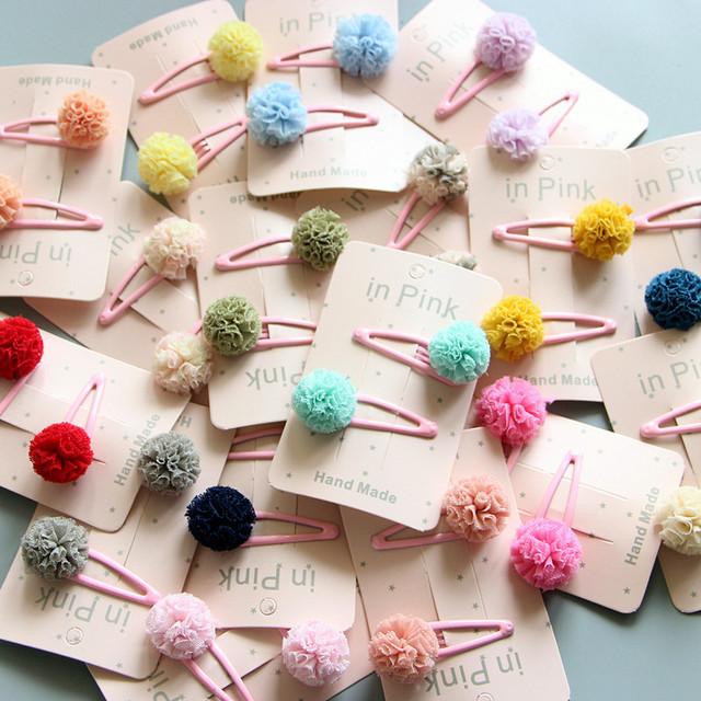 Cute Color Pom Pom Ball Baby Hair Clips Baby Girl Hair Accessories Barettes Princess Bows Girls Accessories Hair Band Headband