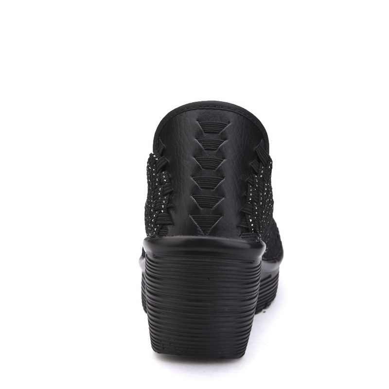 Vrouwen Sneakers Vrouwen Wandelschoenen Ademende Handgemaakte Outdoor Sportschoenen Demping Wiggen Schoenen Hoogte Toenemende # B001