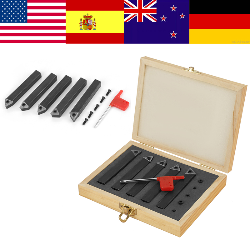 5Pcs Carbide Inserts cutter Full Size Wood Lathe Turning Tool Sets with Screws