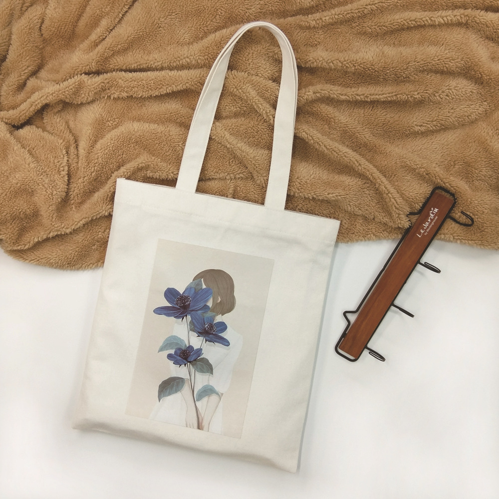 Casual color printing canvas shoulder bag zipper opening green shopping handbag personalized print
