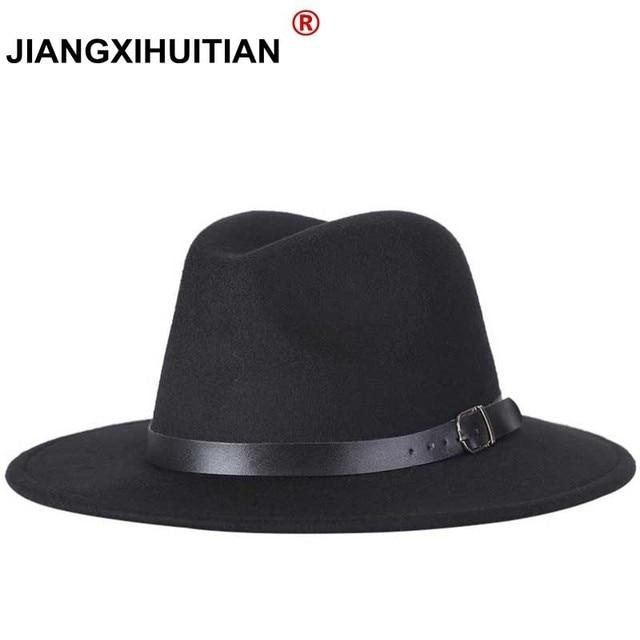 Envío Gratis 2019 nuevos hombres de la moda sombreros de moda de las mujeres jazz sombrero verano primavera negro mezcla de lana al aire libre sombrero casual