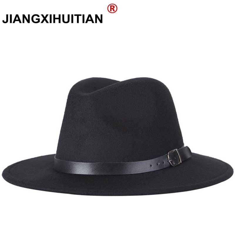 Free Shipping 2020 New Fashion Men Fedoras Women's Fashion Jazz Hat Summer Spring Black Woolen Blend Cap Outdoor Casual Hat X XL