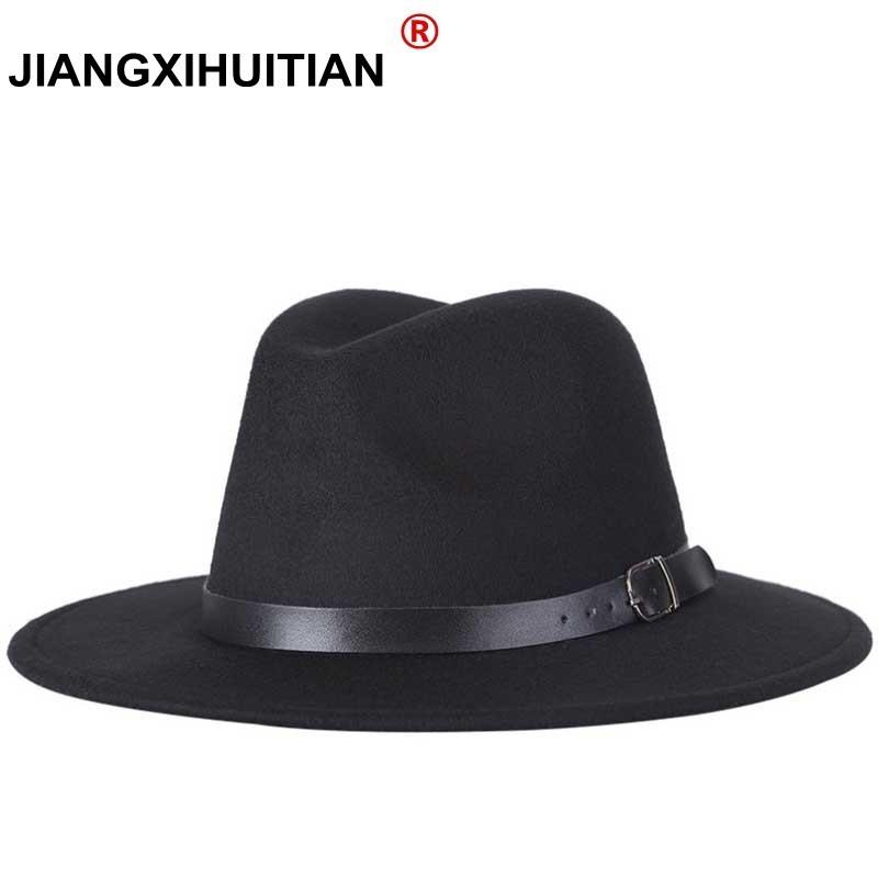 free shipping 2020 new Fashion men fedoras women's fashion jazz hat summer spring black woolen blend cap outdoor casual hat X XL