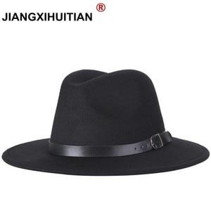 free shipping 2020 new Fashion men fedoras women's fashion jazz hat summer spring black woolen blend cap outdoor casual hat X XL(China)