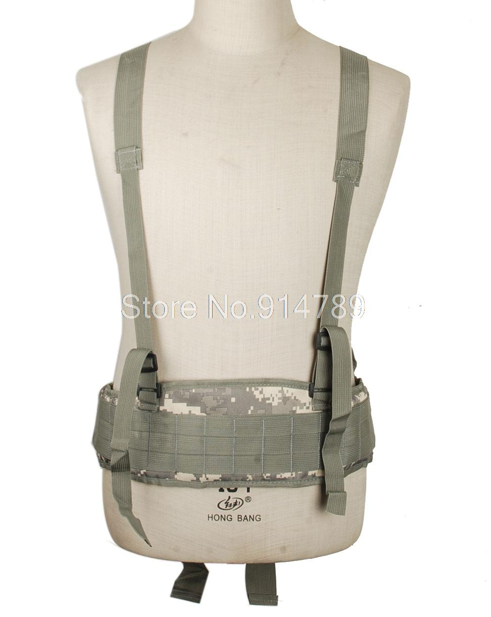 TACTICAL AIRSOFT MOLLE WAIST PADDED BELT WITH SUSPENDER ACU-34183