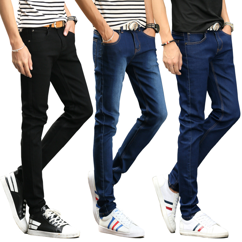 Mens Skinny Classic Black   Jeans   Male Fashion Designer Four Season Elastic Pencil Denim Pants Slim Fit   Jeans   Pants Trousers Men