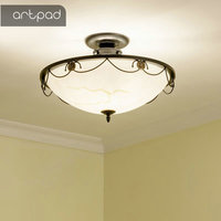 Artpad American Country Style Black Iron Frame Ceiling Light Lamp 3 Type Kitchen Ceiling Light Bathroom Office Bedroom With Bulb