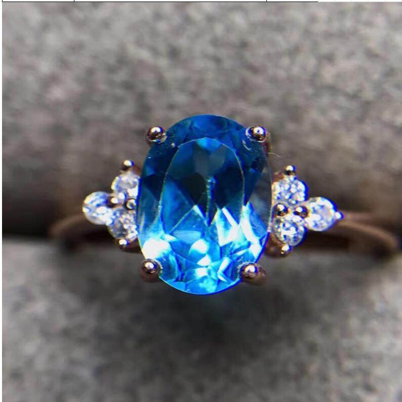 Topaz Ring gem Finger ring Natural real blue topaz 925 sterling silver ring Wholesales For men or women chic artificial gem shell embossed ring for women