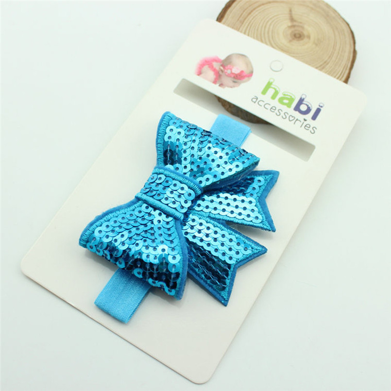 Headwear Baby girls hairband Baby Girls Headbands Handmade Sequins Ribbon Bow Hairband Kids Party Headwear tiara infantil #4S13 (2)