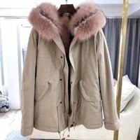 2018 winter new women's fashion cute fox fur collar stripe FOX & RABBIT lining coat nick garment short design parka with hoodies
