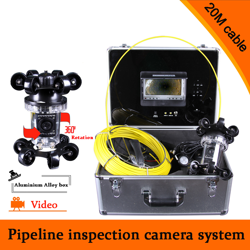 (1 set) 20M Cable industrial endoscope underwater video system pipe wall inspection system Sewer Camera DVR waterproof HD 700TVL