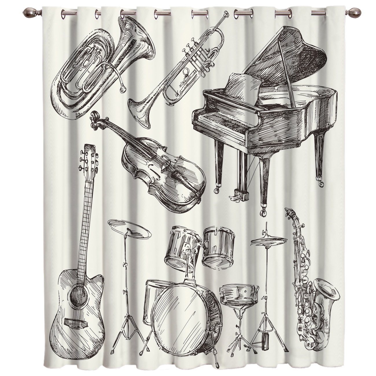 Musical Instrument Window Treatments Curtains Valance Living Room Kitchen Bedroom Fabric Indoor Kids Curtain Panels With Grommet